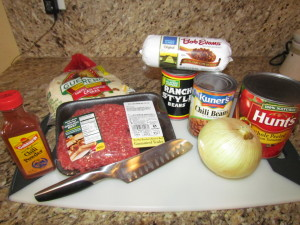 chili ingredients w/ Chicago Cutlery knife