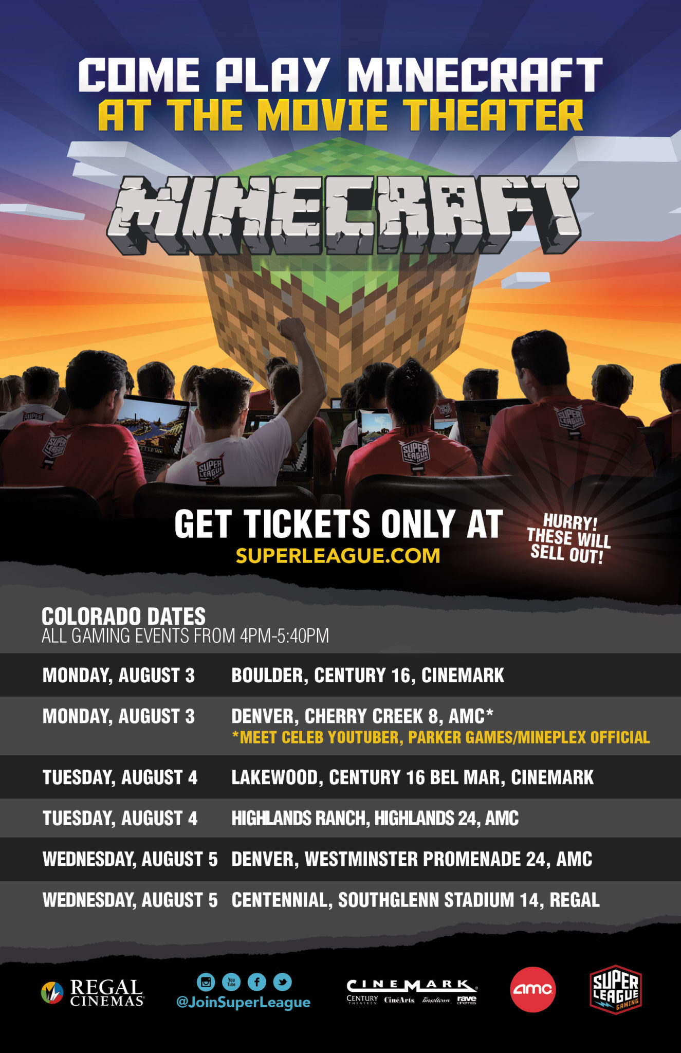 Become Part of Minecraft Super League Gaming! 4 Free Tickets Giveaway…